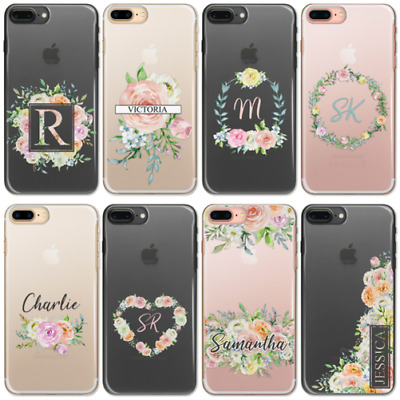 Personalised Initials Flower A6 A7 A8 J3 Case Clear Hard Cover For Samsung Phone