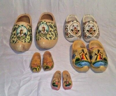 Lot of 5 pairs of Vintage Holland Hand Carved Hand Painted Dutch Wooden clogs!!!