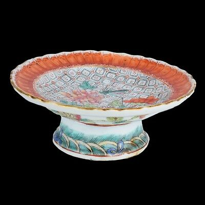 Antique Chinese Famille Rose Porcelain Footed Dish.
