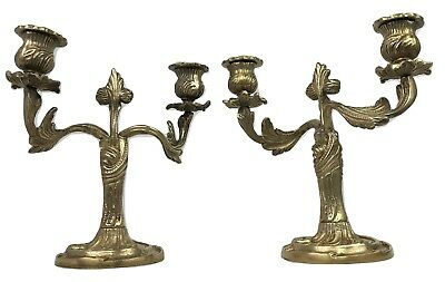 Pair Vintage French Louis XV Rococo Ornate Brass Petite Candelabra Candlesticks