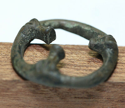 Ancient Viking belt  bronze  scabbard knife connector dragons head