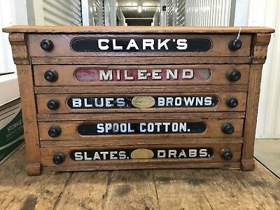 Antique CLARK'S FIVE DRAWER SPOOL CABINET Store Thread Display Or Storage