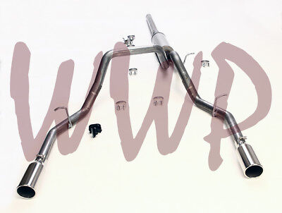 """Stainless 3"""" Dual Split Rear Exit Cat Back Exhaust 14-19 Chevy/GMC 1500 Pickup"""
