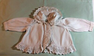 """Antique Broderie Anglaise Trimmed Baby's Matinee Jacket.chest 25"""" Length 11""""."""