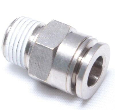 "1pc Brass Push in to Connect Touch Fitting 6 mm OD x 1/8"" NPT Male BMTC6-N01"
