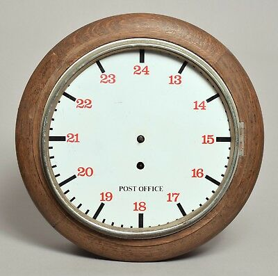 Nice Looking Antique Or Vintage Post Office Wooden Oak Cased Clock Enamel Dial