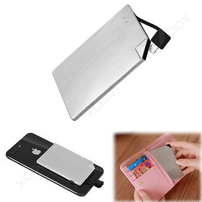 1500mAh Super Slim Card Portable Power Bank Battery Charger with Built in Cable