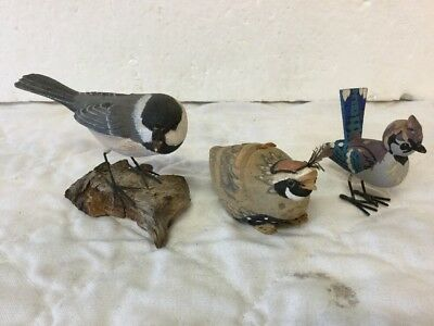 Vintage Russell P Coburn Hand Carved Chickadee & 2 More Magnificent Carved Birds