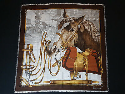 Vintage VIVIENNE GLAMOUR Equestrian HORSE Belts Motif Scarf Wool and Silk