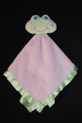 Baby Essentials Plush FROG Baby Security Blanket Lovey Rattle Pink Green Satin