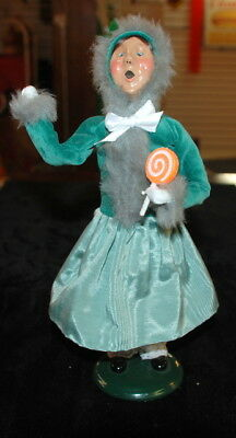 """1996 Byers Choice Caroler Lady in Green with Lollipop - 12"""""""