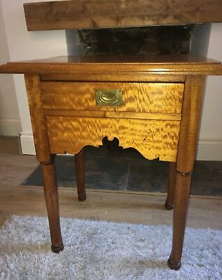 Antique Mahogany Side Table With Inset Brass Handle Draw