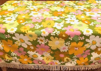 "Vintage 60s MOD Flower Power Fringed Tablecloth*45""x59"" MCM*Mid-Century*Cutter?"