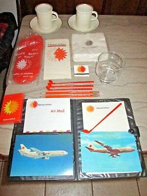 National Airlines Vintage Lot cups saucers cards glass writing tablet napkins ++