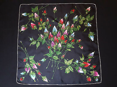 Beautiful Unbranded Floral Roses Motif Hand Rolled 100% Silk Scarf