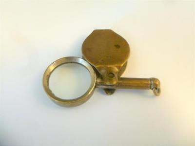 Antique Victorian Brass Pocket Watch Fob Field Magnifying Glass Loop c1890's