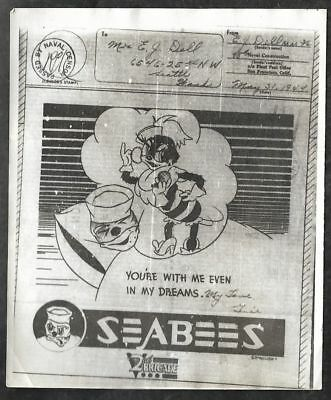 1944 Censored Illustrated V-MAIL Letter from Seabee to Seattle