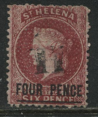 St. Helena QV 1864 4d on 6d carmine used