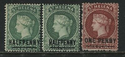 St. Helena QV 1884-87 2-1/2d's on 6d and 1d on 6d mint o.g.