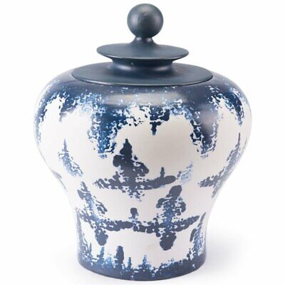Ancient Chinese Style Blue and White Porcelain Helmet-shaped Temple Jar Small...