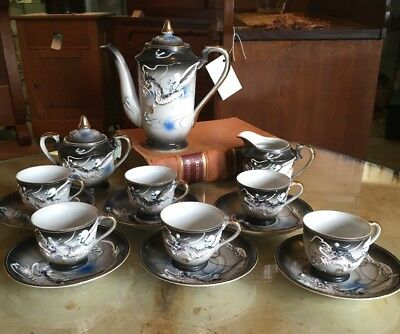 Original 17 Pc Vintage Geisha Dragon Ware Dragonware Tea Set Mint Teapot Lot