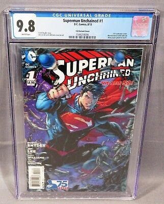 SUPERMAN UNCHAINED #1 (Jim Lee 3-D Lenticular Variant Cover) CGC 9.8 DC 2013