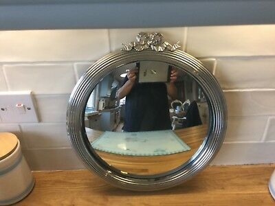 """Edwardian Silver Plate Ribbed Convex Mirror With Ribbon Bow Top 14"""" Diameter"""