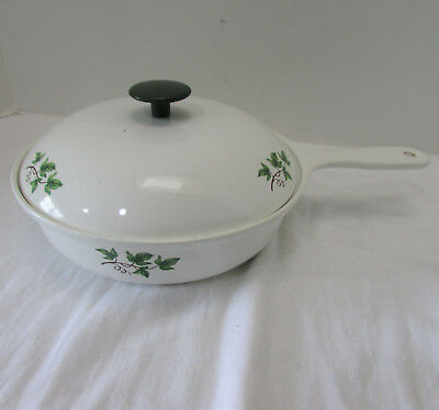 Vintage Prizer-Ware White Enamel on Cast Iron Skillet with Lid Ivy Pattern