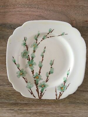 """Vintage Crown Staffordshire Small Tea Plate 5.5""""  Green Flowers , Orange Centres"""