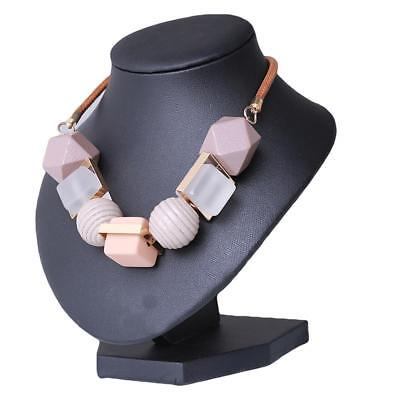 Black Pink Gray Natural Geometric Wooden Bead Pendant Necklace New JAZZ