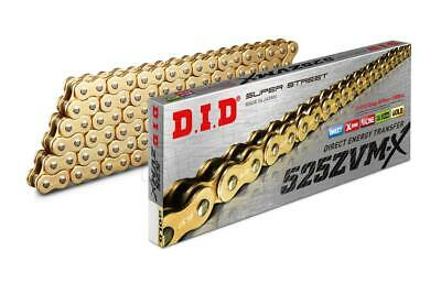 DID Gold Super HD X-Ring Motorcycle Chain 525ZVMX GG 124 Links w/ Rivet Link