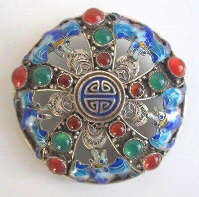 Brosche Brooch China Sterling Silber Silver Emaille Cloisonne