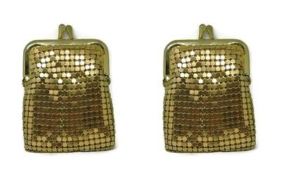 Lot Of 2 Vintage Gold Tone Mesh Coin Purses