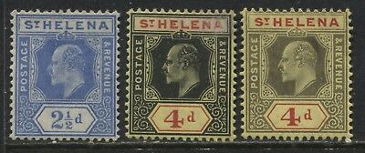 St. Helena KEVII 1908 2 1/d, and 4d both on regular and chalky paper mint o.g.
