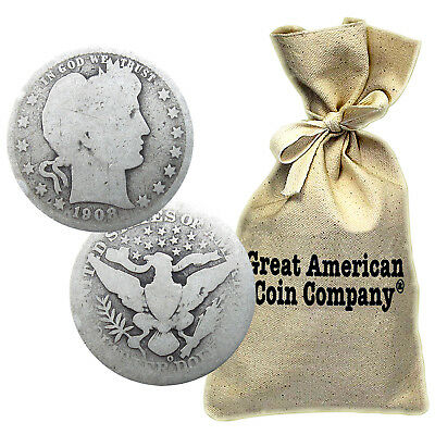 Bag of $100 Face 90% Silver Barber Quarters Circulated