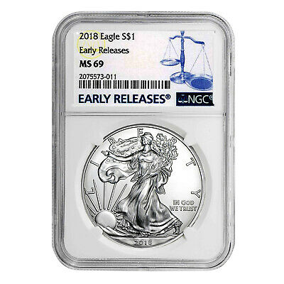 2018 $1 American Silver Eagle MS69 NGC - Early Releases