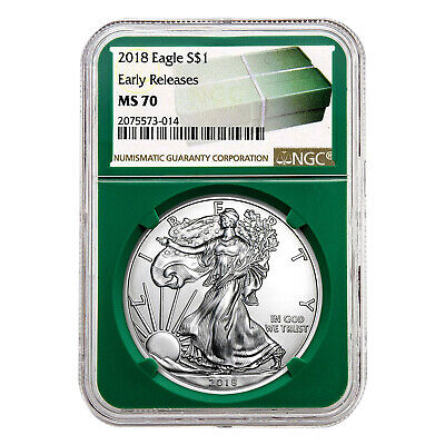 2018 $1 American Silver Eagle MS70 NGC - Early Releases, Green Holder