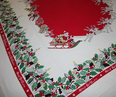 Mid Century Vtg Christmas Tablecloth Santa Flying Sleigh Reindeer Vivid Textured