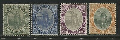 St. Kitts Nevis 1905-16 4 definitives to 1/ mint o.g.