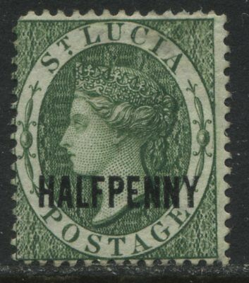 St. Lucia QV 1881 green overprinted HalfPenny unused no gum