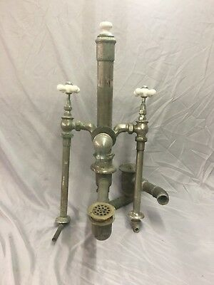 Antique Bathtub Faucet Tower standing Waste Drain Nickel Vtg Standard 130-18J