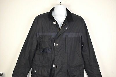 Barbour Masthead Jacket Men's Large Waxed Cotton Tartan Lining Lobster Clip