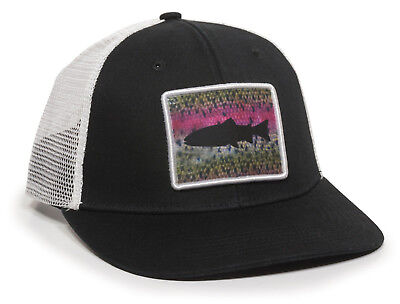 63c0821be704b RAINBOW TROUT EMBROIDERED Engraved DRY FLIES FLY FISHING Leather Hat ...