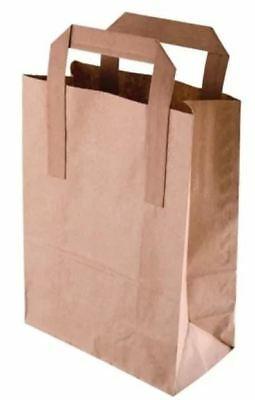 DURA KRAFT BROWN SOS PAPER Carrier Food BAG WITH HANDLES - Small x 100