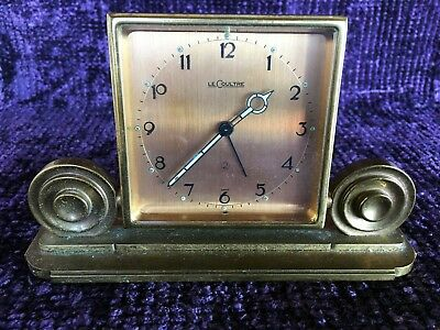 Vintage Art Deco LeCoultre 2-day Travel Alarm Clock Hinged Stand, Brass Ormolu