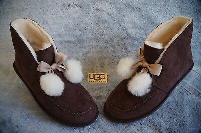 aec2662489a UGG KALLEN POM POM MOCCASIN SLIPPERS , US 7 Womens, Color: STOUT , 1017541