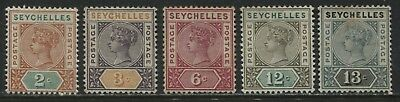 Seychelles QV 1890-1900 various values to 13 cents mint o.g.