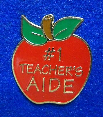 """New ~ #1 Teacher's Aide Red Apple Educator """"Thank You"""" Gift Award Lapel Pin"""
