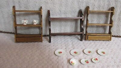 "Dollhouse Miniature 1"" Scale Vtg Two wall shelves w/drawer & Plate shelf"