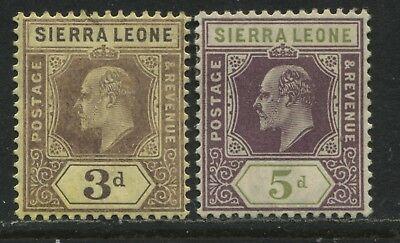 Sierra Leone KEVII 1907 3d and 5d mint o.g.